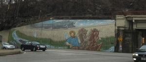 the strange mural of Easton. Canal Poseidon? Triton? We could not figure it out.
